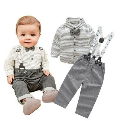 UK Seller Toddler Kid Baby Boys Shirt T-shirt+ Bib Pants Overall Clothes Outfit