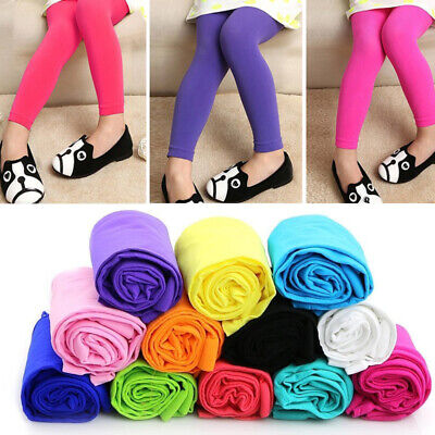 5-9Y Kids Girls Solid Velvet Full Length Stretch Leggings Casual Pants Trousers