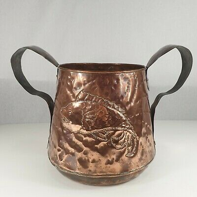 Antique Arts And Crafts Handicraft Style Two Handled Copper Jardiniere Fish
