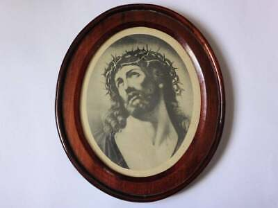 Antique Jesus Lithograph in Hand Carved Timber Frame, 1800s Religious Wall Decor