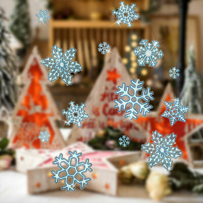 78 Xmas Christmas Window Decorations Stickers Snowflake With Glitter Home Decor