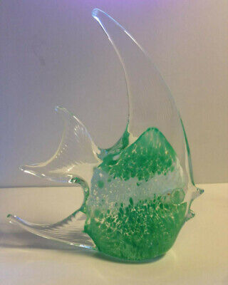 Murano-Style Glass Angelfish Paperweight Sculpture Art - Clear, Green & White