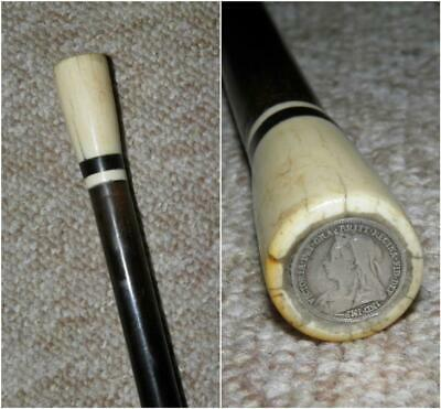 Antique Carved Topped Ebony Walking Stick/Cane With Silver Threepence Coin