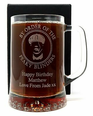 Personalised Peaky Blinders Pint Glass Beer Tankard/Mug Christmas/Dad/Son Gift