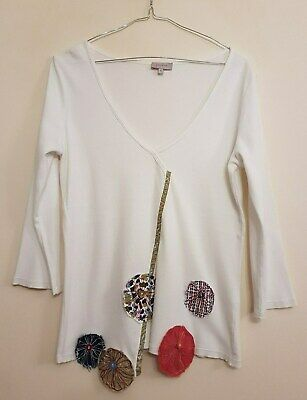 Ref 676 - MARKS & SPENCERS - Ladies Womens Girls White Cotton Floral Top Size 12