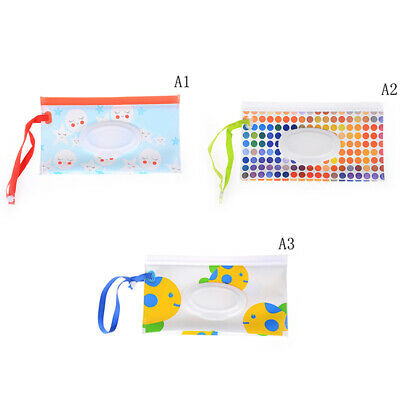 Wet Wipes Bag Cosmetic Pouch Easy-carry Snap-strap Wipes Container  JP