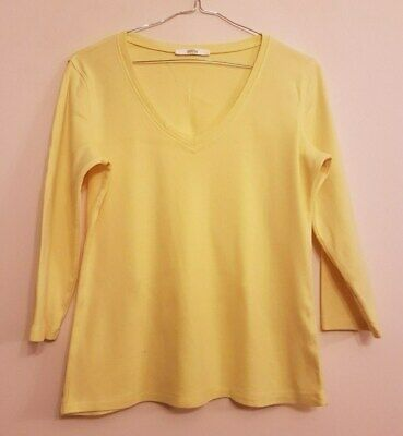 Ref 677 - MARKS & SPENCERS - Ladies Womens Girls Yellow Cotton Top Size 12