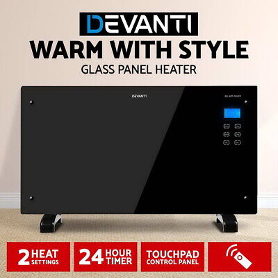 NEW 2000W Tempered Glass Panel Heater Black with LCD Display, Remote Control