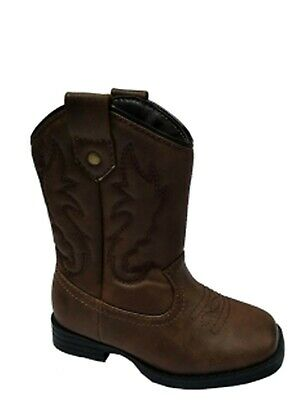 WONDER NATION YOUTH COWBOY BOOTS SHOES BROWN PULL ON WESTERN