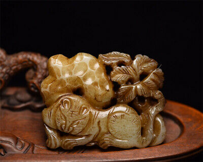 "3.07"" Chinese 100%natural Hetian Nephrite jade Hand-carved tiger Pendant"