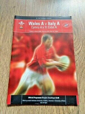 Wales A v Italy A 2002 Rugby Programme