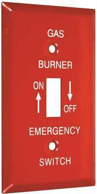 Red Metal Emergency GAS Burner Furnace Wall Plate Cover 1 Toggle Switch (Taymac)