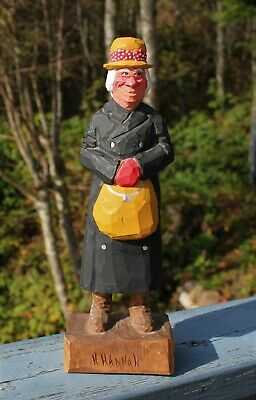"Vintage Carved Wooden Wood Country Elderly Lady  Figurine 12"" Statue By Hannah"