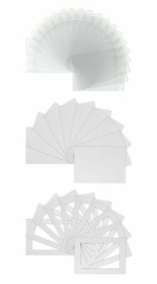 """Picture Photo Mounts Backs and Clear Bags 10"""" x 8"""" to fit 7"""" x 5"""" White x10"""