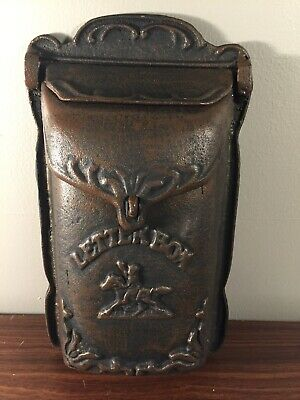 Old Vintage Heavy Cast Iron Letter Box Hand Painted Horse And Rider Mail Decor