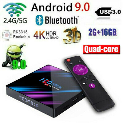H96 Max 4K Android 9.0 TV BOX RK3318 Quad Core 4G+16/32/64G 2.4/5Ghz WiFi K3Y9