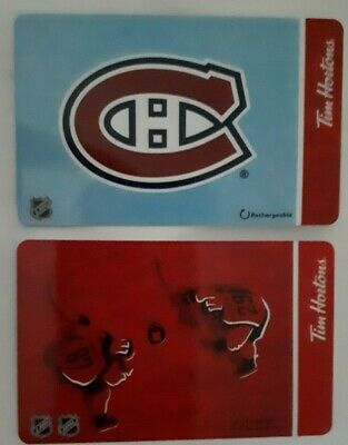 Lot 2 Tim Hortons NHL Gift cards Crosby / Mackinnon & Montreal Canadiens