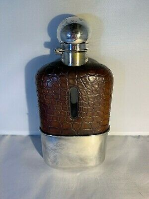 Crocodile Leather and Silver Plated Flask
