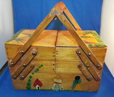 Vintage Mexican Hand Painted Expanding Accordion Wooden Sewing Box w/ Extras