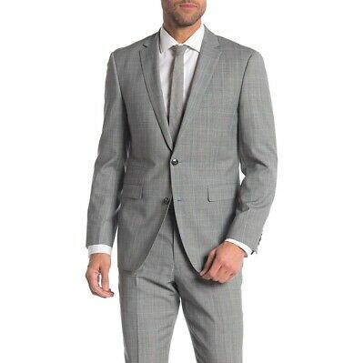 NWOT $695 Vince Camuto Gray Plaid Two Button Wool Slim Fit Suit 38R Blazer Only