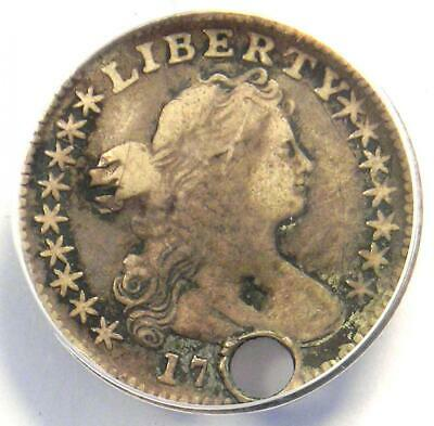 1797 Draped Bust Half Dime H10C Coin 16 Stars LM-2 - ANACS F15 Details (Holed)!