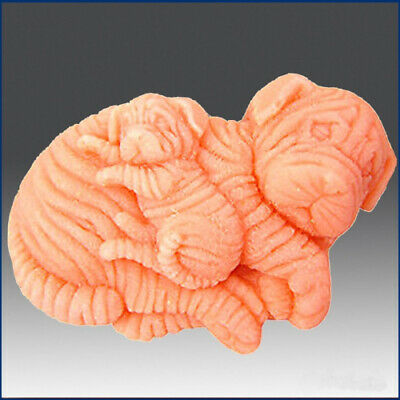 Sharpei Dogs - Mama & Puppy - Detail of High Relief Sculpture - Silicone
