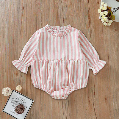 Kids Baby Girl Striped Clothes Long Sleeve Romper Jumpsuit Bodysuit Outfits Set