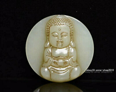 5.1cm China natural Old HeTian Jade Hand-carved Buddha Pendant Amulet AJJO