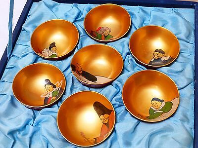 Vintage Japanese Mini Gold Plated Lacquer Bowl Set