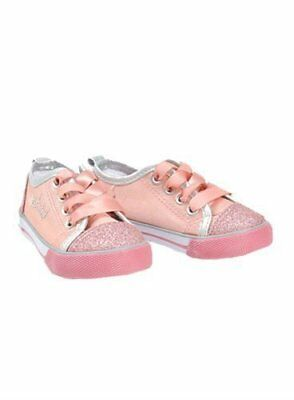Girls New Pumpkin Patch Pink Glitter Lace Up Casual Flat Trainers Infant  UK 12