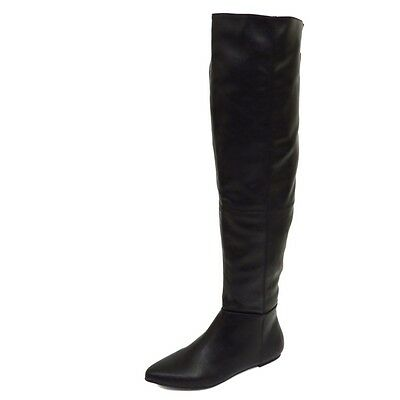 Womens Girls Faux Leather Black Over The Knee Casual Formal Clubbing Boots 3 -7