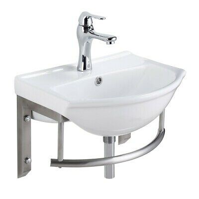 Small Wall Mount Bathroom Sink with Stainless Steel Towel Bar