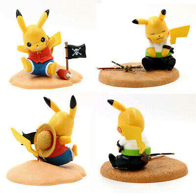 Pokemon PIKACHU Cosplay ONE PIECE Luffy Roronoa Zoro Figure PVC Model Toy Gift