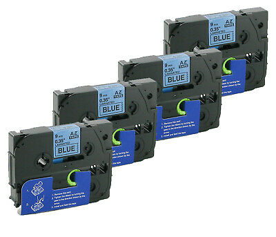 4x Labels Compatible with Brother P-Touch 1005 F Black/Blue