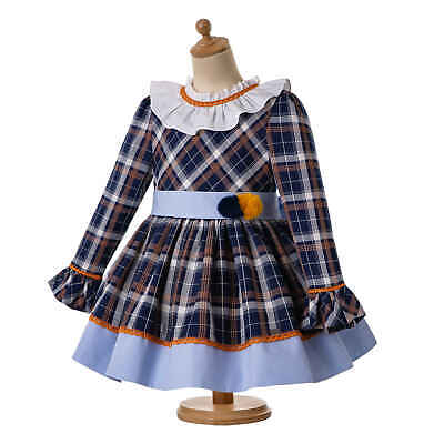 Girls Checked Clothing Spanish Dress Christmas Party Prom Autumn Pleated Age 2-8