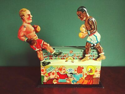 Seltener 1950er Ruhl Boxing Champions Louis vs Schmeling Blechspielzeug Tin Toy