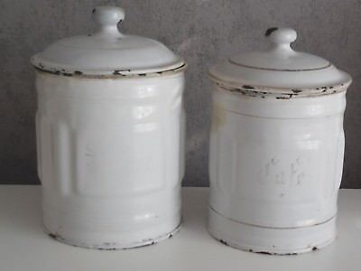 lot of 2 Antique French Enamel CANISTER SET -  WHITE