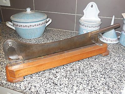 RARE ANTIQUE FRENCH BREAD CUTTING BOARD SLICER w. Very large TILTING BLADE
