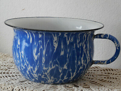 ANTIQUE French enameled tole CHAMBER POT - White & blue swirl graniteware