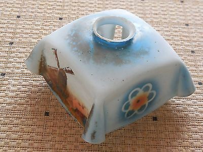"""Antique FRENCH OPALINE GLASS LAMPSHADE 7"""" - WINDMILLS & FLOWERS BLUE BACKGROUND"""