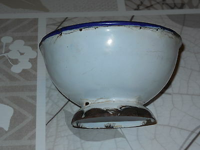 ANTIQUE French Enameled BOWL (white with blue rim)