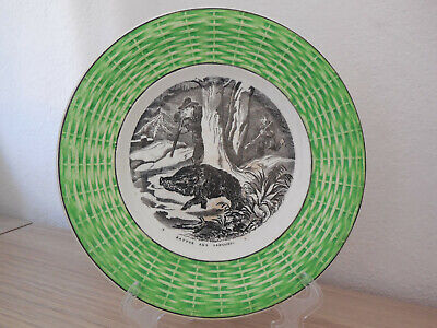Majolica Hunting Plate French Antique 19thC Transferware DIGOIN SARREGUEMINES 9