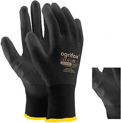1, 12 or 24 PAIRS BLACK NYLON PU COATED SAFETY WORK GLOVES GARDEN GRIP BUILDERS