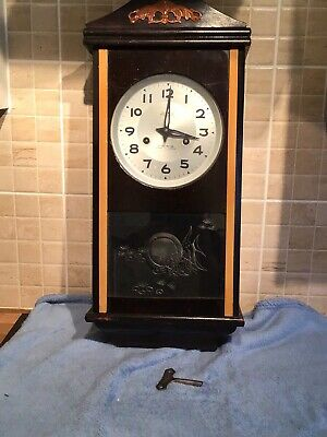 Vintage 1960S Chinese 15 Day Wall Clock With Key