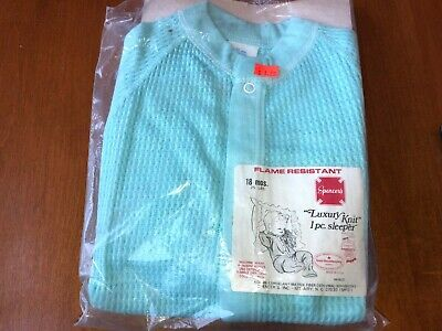 Vtg NOS Spencers Luxury Knit Thermal Baby Infant Sleeper Snap Turquoise Blue