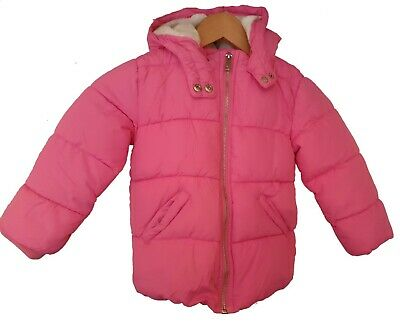 Pink River Island Girls Puffer with Furry Hood Jacket Age 4-5