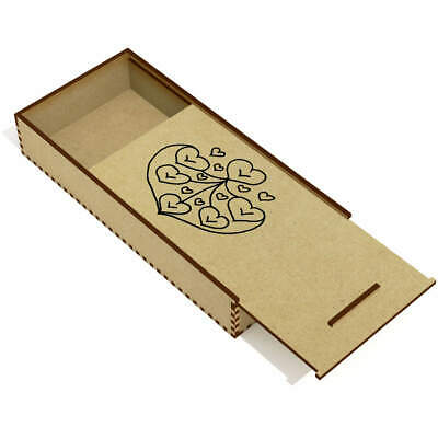 'Collection Of Hearts' Wooden Pencil Case / Slide Top Box (PC00017195)