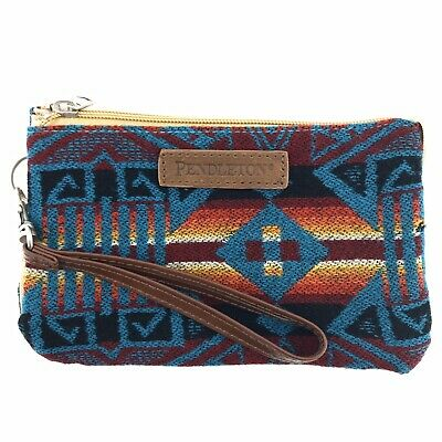 New Pendleton Wristlet Wallet 3 Pocket Keeper Southwestern Wool Leather Straps.