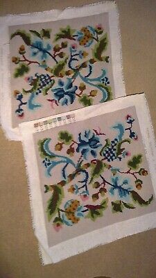 A Pair Of Jacobean Tapestry Squares, Ideal For Cushions Or Upholstery. 14X13 Ins