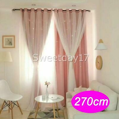 Star Blockout Blackout Curtains 2-Layers Eyelet Pure Fabric Room Darkening AUS